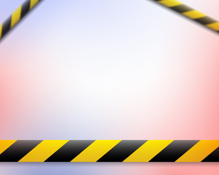 Vector illustration of the attention line. Yellow black police warning tapes, fencing. Danger sign. Do not cross the fence. Place for text. Eps. Standard-Bild - 118197586