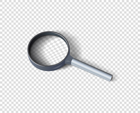 Realistic magnifying glass with shadow. The concept of search. Vector design element isolated on a transparent background. Eps.