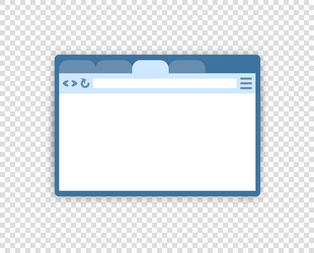 Vector illustration of web browser window, interface. flat style. Social page, media concept. Design element isolated transparent background. Eps.