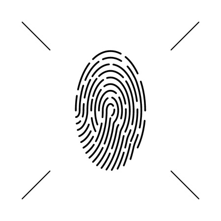 Fingerprint monochrome icon. Vector concept, abstract scan, icon. Design element isolated background. Eps.