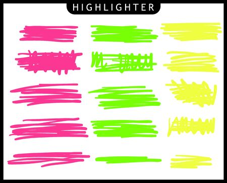 Set of yellow, green, pink, strokes line markers. Vector highlight brush lines. Hand drawing sketch underlined, stripes. Elements on an isolated transparent background. Иллюстрация