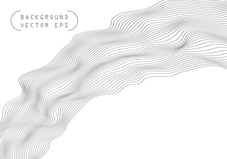 Abstract wavy volume convex lines, gray winding, relief wave. Band. Vector object template with the ability to overlay isolated on a light background. Eps. Çizim