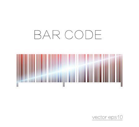 Bar code, art and design. Laser scanning. Light effect. Element isolated on light background.