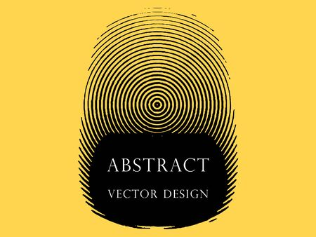 Monochrome abstract fingerprint in the form of rings, icon, logo. The vector element is isolated on a yellow background.