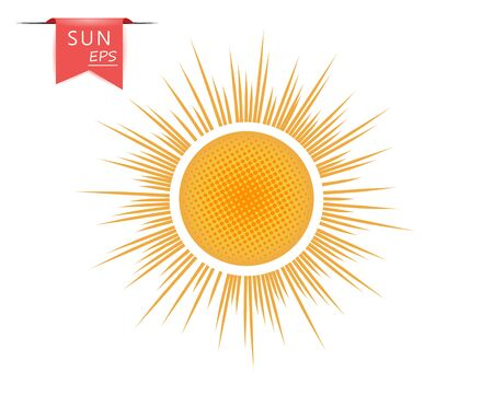 Creative orange, yellow art sun with outgoing dotted rays. The vector element is isolated on a light background. Illusztráció