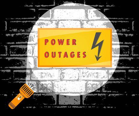 Power outage. Flashlight beam of light, warning sign. Vector illustration, poster, banner. Illusztráció