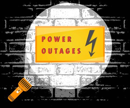 Power outage. Flashlight beam of light, warning sign. Vector illustration, poster, banner. Illustration