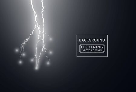 Electric white lightning flash discharge with soft transparent glow effect. Vector design element isolated on dark background.