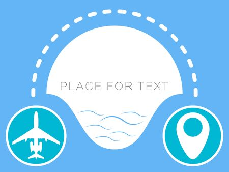 Plane vector icon, dotted line, path map. Place for text. Illustration of a banner, a poster.