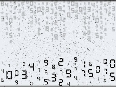 Digital abstract code with scuffing elements. Random placement, different sizes. Vector illustration, background.