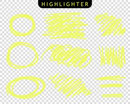 Set of yellow, round, oval strokes line markers. Vector highlight brush lines. Hand drawing sketch underlined, stripes. Elements on an isolated transparent background.