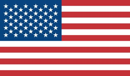 The flag of the United States of America is colored. Vector colorful flag of the US. Blue, red, white. Object isolated background.