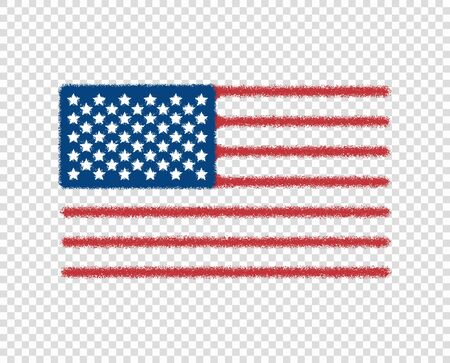 Abstract United States flag painted. Noise. Vector art design, modern, USA flag, icon. Isolated transparent background. Eps.