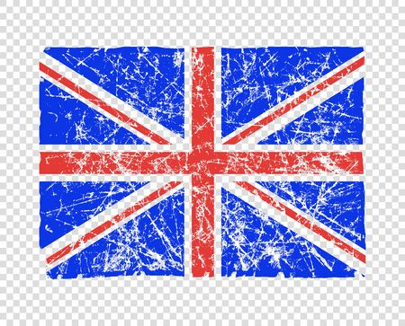 Flag of great Britain, abstract. UK flag in grunge. The effect of scuff, wear, damage, old. Vector element isolated on a transparent background.