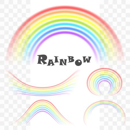 Creative abstract cute rainbow. Vector design element isolated on a transparent background.