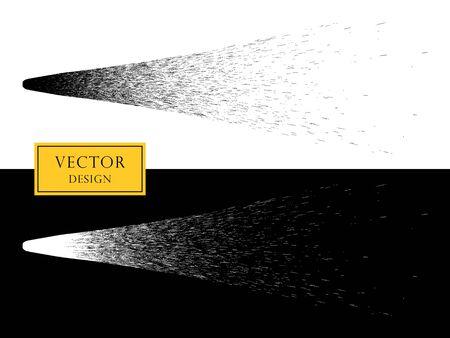 Vektorgestaltungselementspray oder Kometenschwanz, Meteorit. Das Objekt auf einem isolierten Hintergrund.