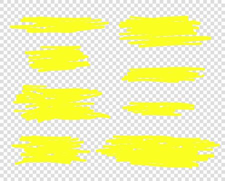Vector hand drawn yellow marker or brush line. Selection elements, for design. Isolated background. Ilustração Vetorial