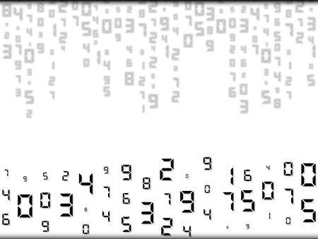 Digital abstract falling code. Random placement, different sizes. Vector illustration, background. Illusztráció