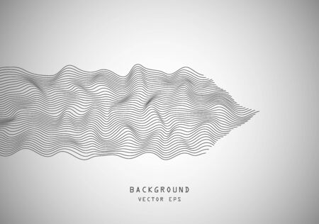 Abstract wavy horizontal volume convex lines, dark winding, relief wave. Band. Vector illustration template with the ability to overlay isolated on a light background.