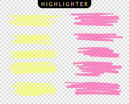 Set of colored strokes markers. Vector highlight brush lines. Hand drawing sketch underlined, stripes. Elements on an isolated transparent background. Illusztráció