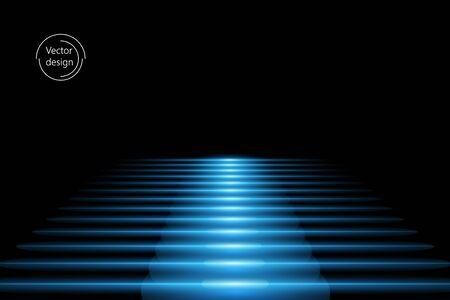 Escalera de vector abstracto con efecto de luz azul, sobre fondo negro aislado. Dirigirte.
