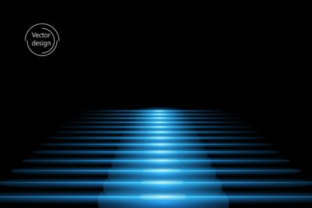 Abstract vector staircase with blue light effect, on black isolated background. Way up.