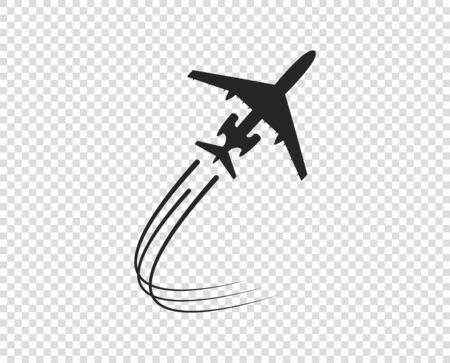 Airplane. Icon silhouette taking off. A twisting plane trail. Vector element isolated on a transparent background. Eps. Illustration