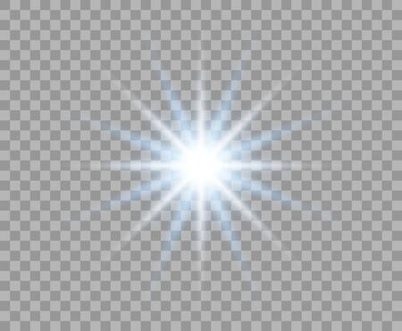 Blue flash glowing with radial rays. Abstract sun. Bright burst of light. Vector Christmas design element isolated on a transparent background.