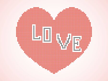 Heart consisting of many small pixel hearts and the inscription love. Vector illustration icon, banner, isolated light background. Illusztráció