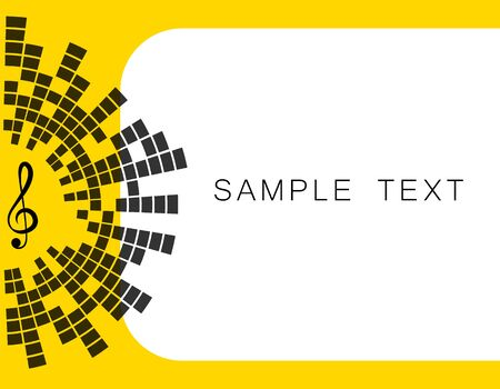 Vector yellow banner illustration, with space for text music key, equalizer. EQ. Art-design.