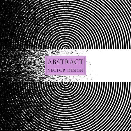 Vector illustration of radiating, concentric circles. Banner, psychedelic, monochrome style. Illusztráció