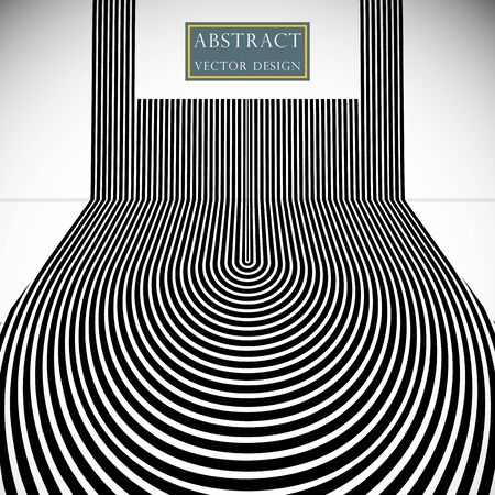 Abstract background the hypnotic lines of the strip. Vector dizzying banner illustration, poster monochrome flat style. Space for text. Illusztráció