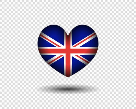 The heart is abstract with a shadow, the flag of great Britain. Icon, logo England flag. The concept of patriotism. Vector design element, isolated on a transparent background.