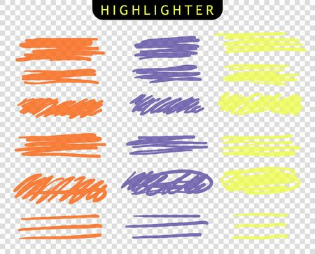 Set of yellow, orange, purple, strokes line markers. Vector highlight brush lines. Hand drawing sketch underlined, stripes. Elements on an isolated transparent background.