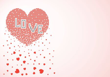 Heart consisting of many small pixel hearts dissolves, crumbles in the form of leaves. Vector illustration, banner, isolated light background.