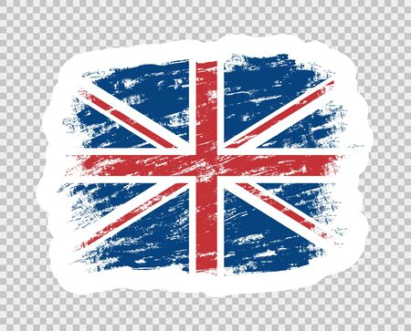 Flag of Britain color abstract. UK grunge brush. Template sticker. Object isolated on a transparent background. Illusztráció