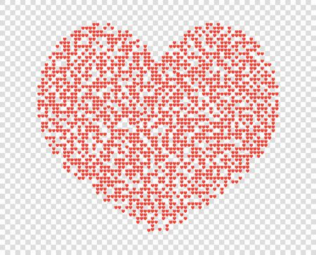 Heart consisting of many small pixel hearts. Vector illustration, banner, isolated transparent background.