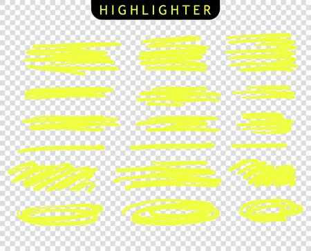Set of yellow strokes line markers. Vector highlight brush lines. Hand drawing sketch underlined, stripes. Elements on an isolated transparent background.