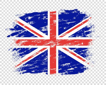 Flag Of Britain. Abstract brush pattern, art design. UK flag in grunge. The effect of scuff, wear, damage, old. Vector design element isolated on a transparent background.