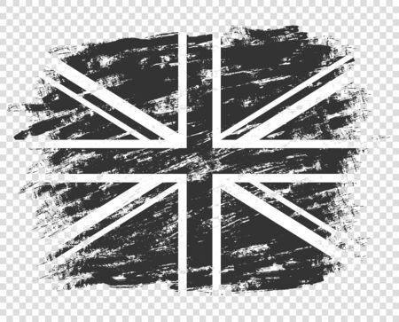 La sagoma della bandiera della Gran Bretagna è in bianco e nero. Regno Unito grunge, astratto. Stile monocromatico. Illustrazione isolata su uno sfondo trasparente. Vettoriali