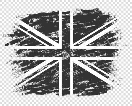 The flag of Britain silhouette is black and white. UK grunge, abstract. Monochrome style. Illustration isolated on a transparent background.  イラスト・ベクター素材