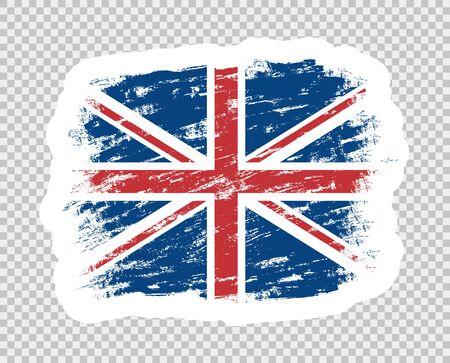 Flag of Britain color abstract. UK grunge brush. Template sticker. Illusztráció
