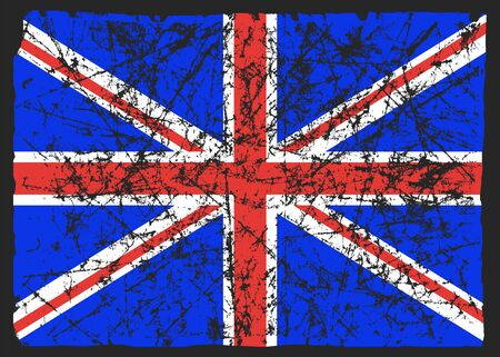 Flag of great Britain, abstract. UK flag in grunge. The effect of scuff, wear, damage, old. Vector illustration.