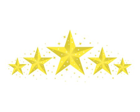 Five yellow, gold stars with highlighted edges and glitter. The concept of rating. Vector design element isolated on light background. Illustration