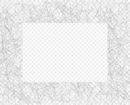 Hand drawn chaotic line shading pencil frame. Oblique grey thin scribble Illusztráció