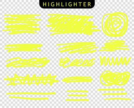 Set of yellow strokes line markers. Vector highlight brush lines. Hand drawing sketch underlined, stripes.
