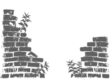 The silhouette of a ruined wall, broken brickwork, nettles growing. Vector object on isolated white background. Ilustrace