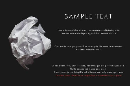 Paper white balls. Vector realistic crumpled paper on a black background, indented for text.