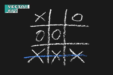 Chalk game TIC TAC toe. Vector effect of chalk or coal. The object on an isolated background.