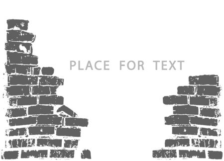 Silhouette of a ruined wall, broken brickwork. Vector illustration with space for text. Object on isolated light background.